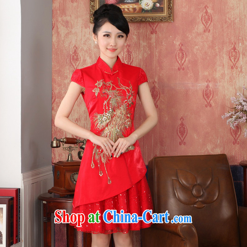 Autumn 2014 the new bridal dresses wedding dresses red short cheongsam Chinese bows serving XXL