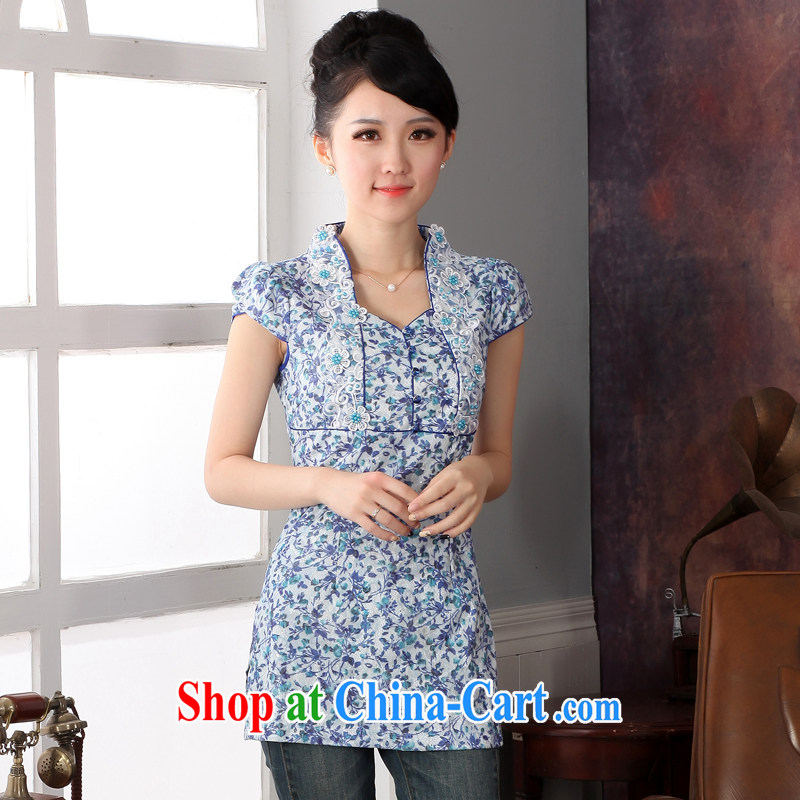 2014 new autumn and the Chinese, Chinese spring and summer National wind girls improved cheongsam shirt XXL
