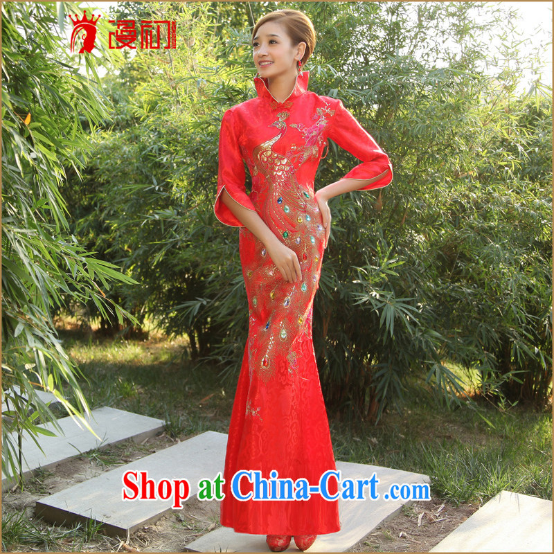 Diffuse early marriage outfit improved cheongsam dress 2015 new dresses retro graphics slim, bridal dresses red XXL