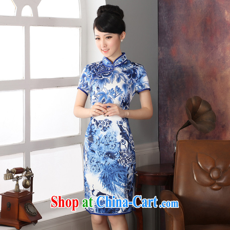 Oriental elite 2014 summer and autumn New Silk retro dresses skirt heavy sauna silk elegant beauty blue and white porcelain goods Limited Edition sales XXL