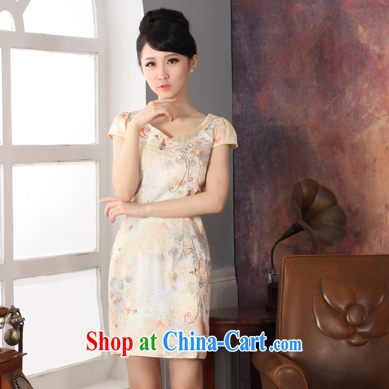 Autumn 2014 the new, improved cheongsam stylish short-sleeve everyday cotton dress and package mail L