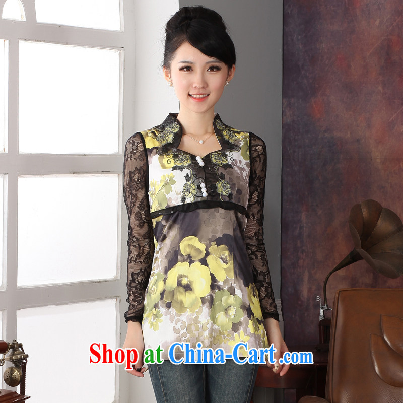 Autumn 2014 the new female Chinese T-shirt girls long-sleeved lace T-shirt stamp the Code women with mother XXL