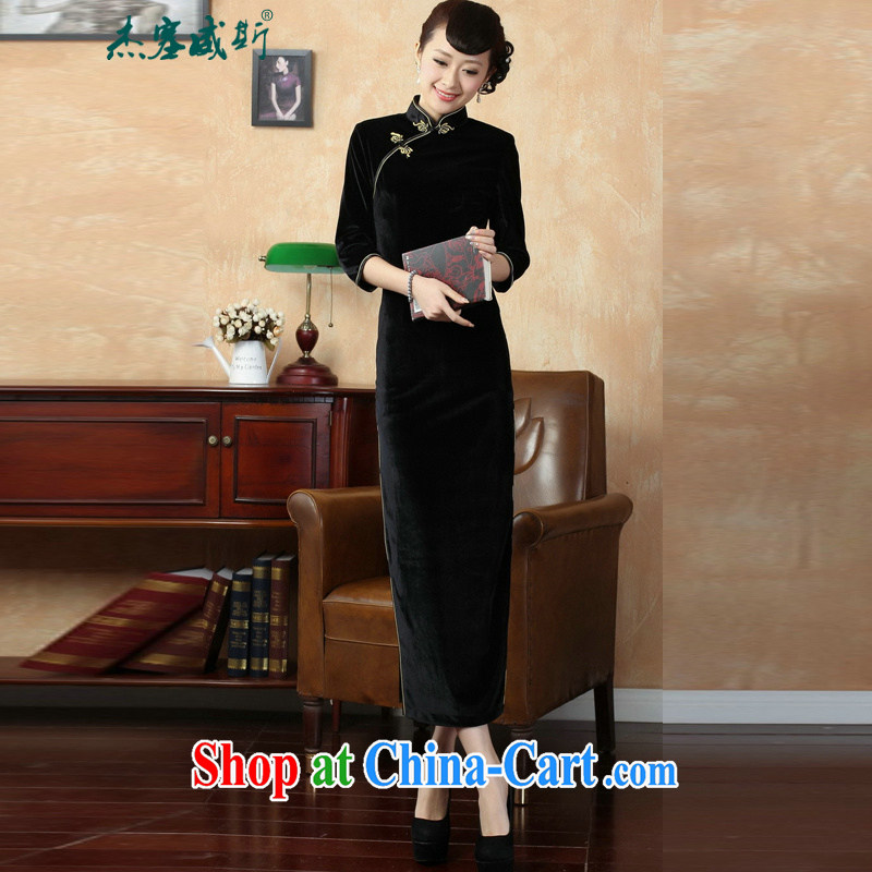 Jessup, new autumn and the solid color hand-tie and collar-stretch the wool long cheongsam T 0001 black L