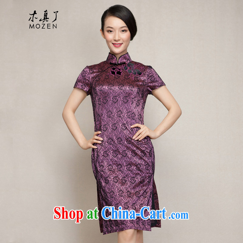 Wood is really a spring 2015 new improved cheongsam dress half sleeve dresses winter dresses 11,474 17 purple bottom black flower XXXXL