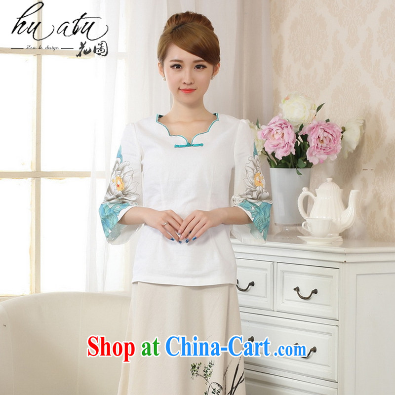 Spend the autumn and the new hand-painted horn cuff improved cheongsam Chinese T-shirt linen Chinese Ethnic Wind women picture color L