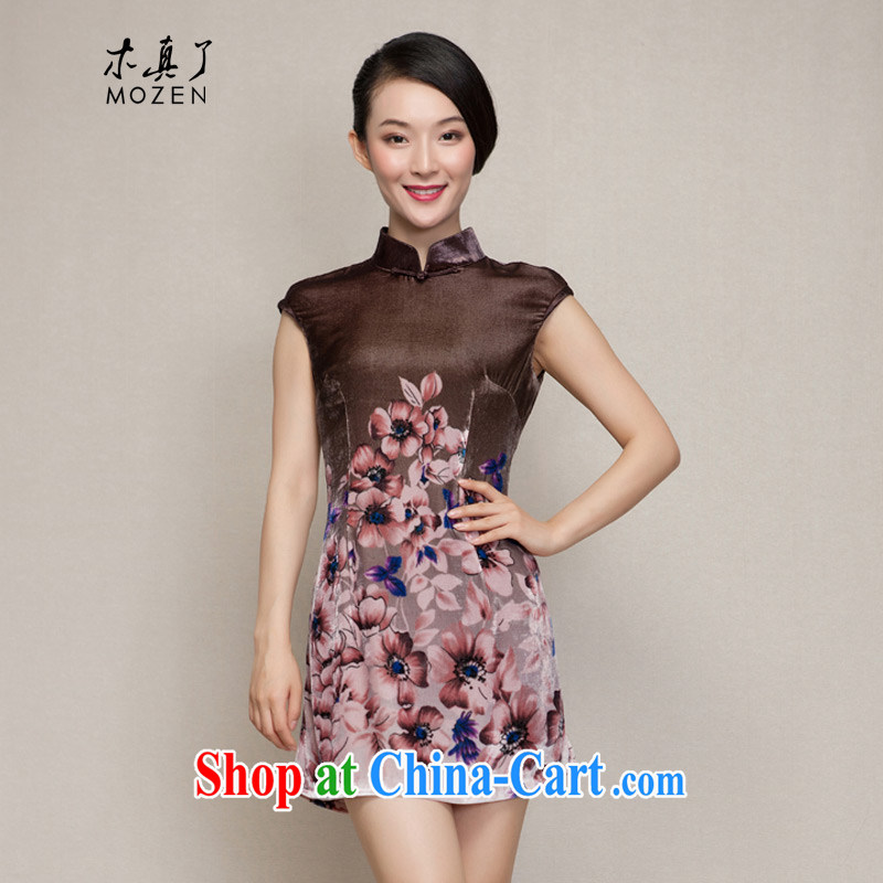 Winter dresses wood is really the 2015 spring new velvet poster cheongsam dress Silk Dresses 21,818 09 coffee-colored XXXL