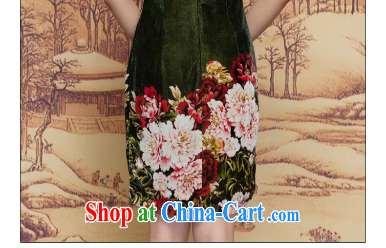 Wood is really the 2015 spring new scouring pads painted green Peony Silk Cheongsam dress elegant and refined dress 11,660 14 dark green XXL pictures, price, brand platters! Elections are good character, the national distribution, so why buy now enjoy more preferential! Health