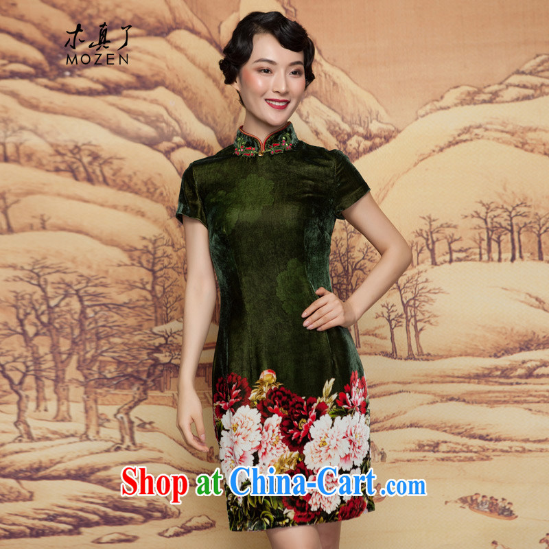 Wood is really the 2015 spring new scouring pads painted green Peony Silk Cheongsam dress elegantly refined dress 11,660 14 dark green XXL