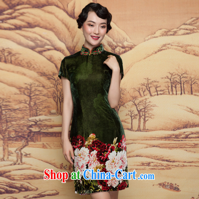 Wood is really the 2015 spring new scouring pads painted green Peony Silk Cheongsam dress elegant and refined dress 11,660 14 dark green XXL, wood really has, shopping on the Internet