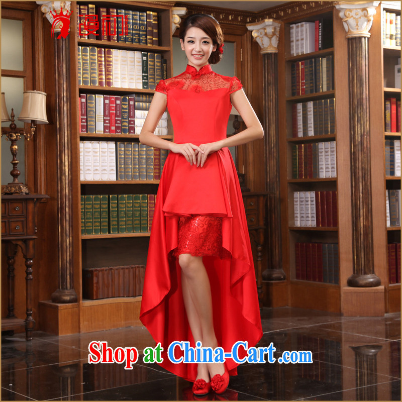 Early definition 2015 new improved stylish wedding dresses bridal dresses short before long stylish long cheongsam red XXL
