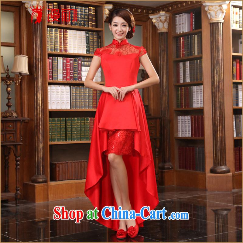 Early definition 2015 new improved stylish wedding dresses bridal dresses short before long stylish long cheongsam red XXL
