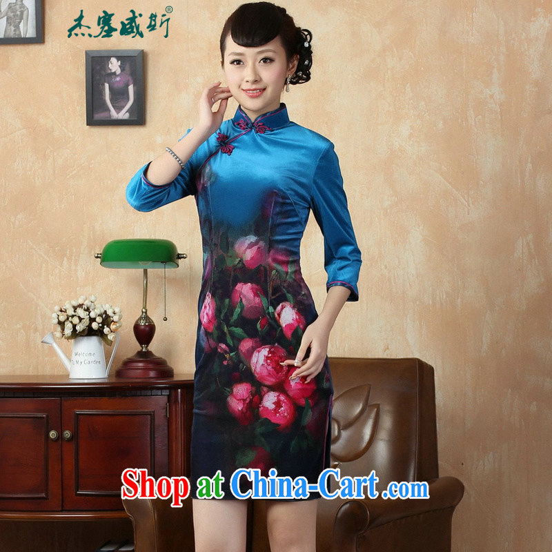 Jessup, new autumn manually load the charge-back the collar stretch gold velour poster elegant classic cheongsam Chinese dresses TD 0004, Cheong Wa Dae XXL