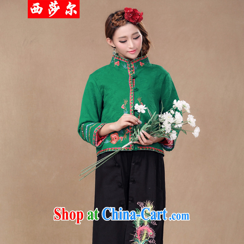 2014 Chinese Chinese Ethnic Wind autumn retro style the code ladies embroidered jacket short 5999 green L