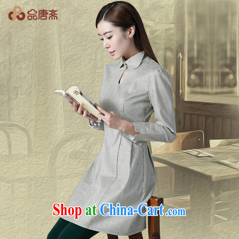 For Tang Id al-Fitr autumn 2014 the new National wind long-sleeved cotton the cheongsam dark L