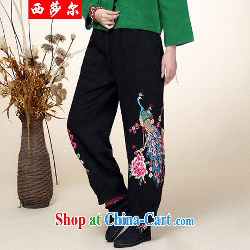 2014 fall and winter new Chinese Tang with improved Han-Chinese wind Peacock embroidery wide leg pants 8004 black are code