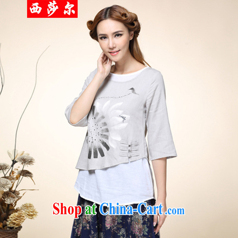 2014 fall and winter new women with hand-painted tray snap leave two retro Tang with improved Han-T-shirt 8010 gray XL