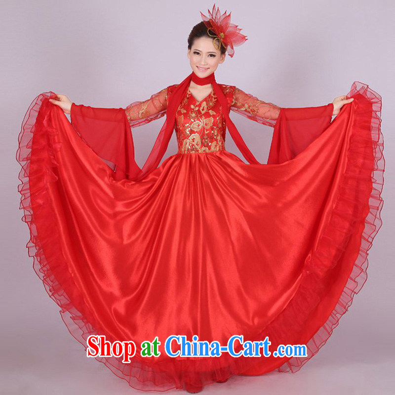 Dual 12 performing arts dream national chorus serving female long skirt opening dance clothing large skirts show apparel HXYM - 000 red 540 degrees XXXL size too big a code