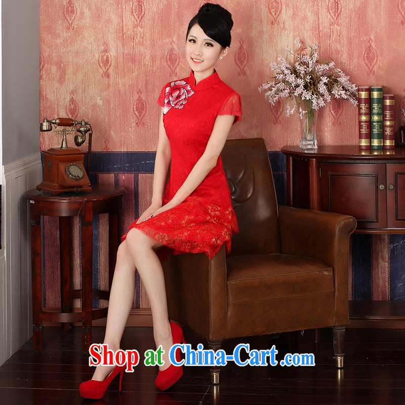 Autumn 2014 the new bride with wedding dresses red Chinese Dress toast clothing retro embroidery dresses 324,146 red XL