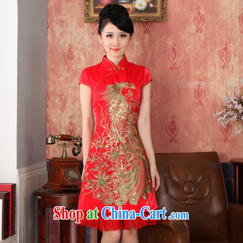 Autumn 2014 the new bride with short wedding dresses sexy Chinese dress uniform toasting retro Phoenix embroidered 224,703 red XXL