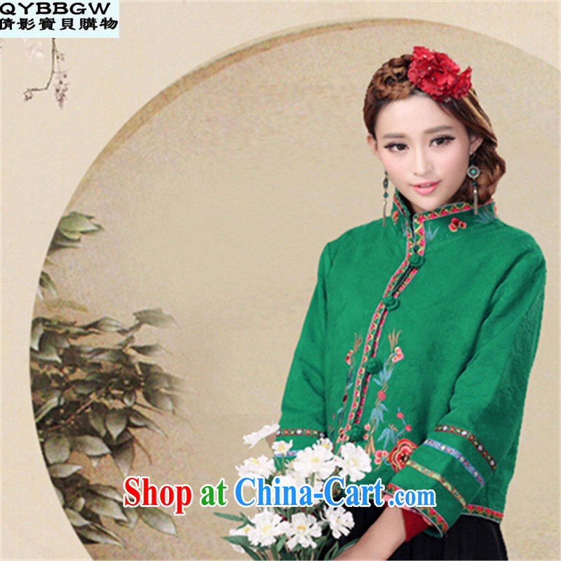 MS ANISSA WONG SEAN-film darling 2014 Autumn and Winter load Tang Chinese Ethnic Wind autumn retro style the code ladies embroidered jacket short green M