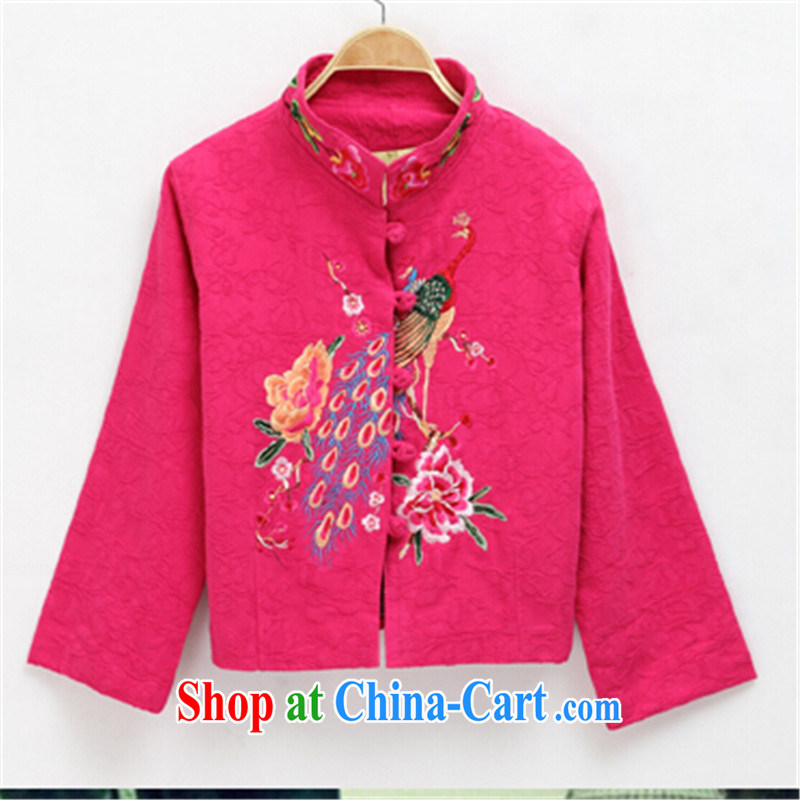 MS ANISSA WONG shadow baby 2014 autumn and winter new Chinese Chinese Han-dresses ethnic wind jacket women short Peacock embroidery of red M
