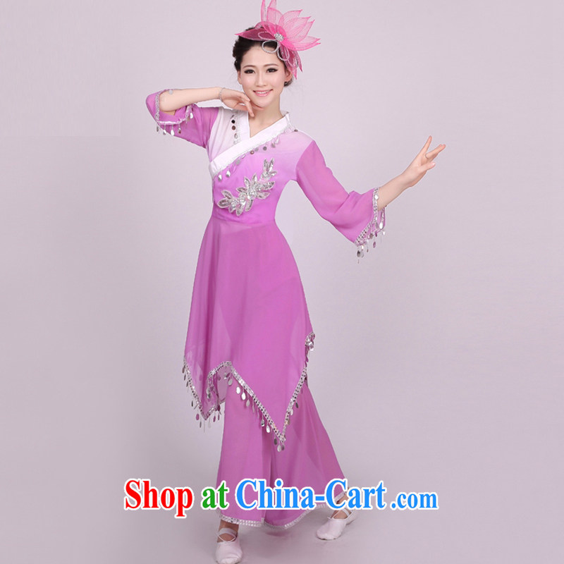 Dual 12 arts dream yangko dance serving Janggu skit National Service Fan Dance Square dance clothing classic female HXYM - 0005 violet figure M
