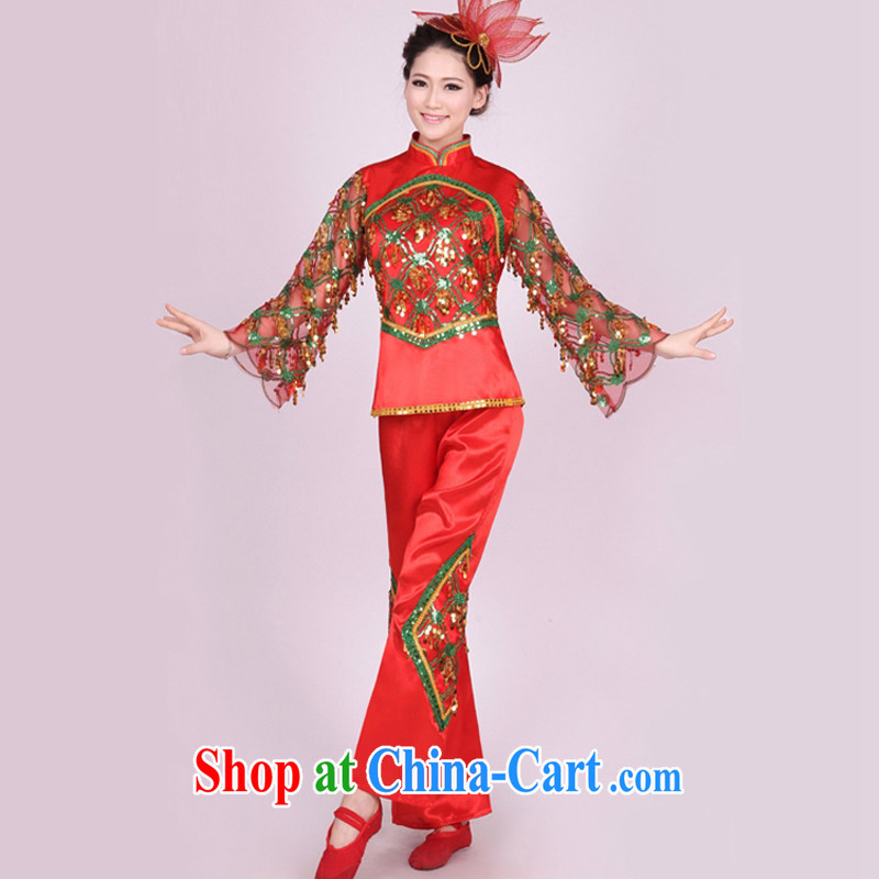 Dual 12 arts dream yangko dance apparel square dance troupe performed ethnic dance fans Janggu dance classic HXYM - 0003 red figure XXXL