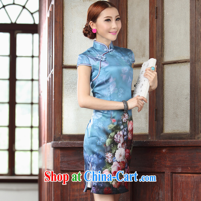 Heavy Silk Cheongsam dress summer fashion 2014 new blue roses Tang replace Ms. XXL blue