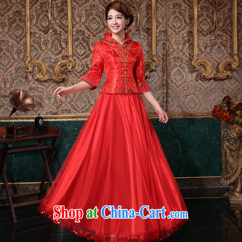 A good service is 2015 new spring and summer red Chinese brides wedding dress marry Yi long-sleeved robes nowhere in his long sleeves dress L