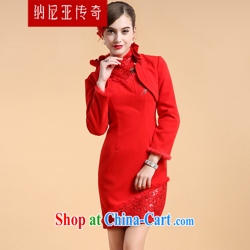 The Chronicles of Narnia 2015 new minimalist cheongsam dress two-piece Cape long-sleeved winter marriage short bows dress uniform Red N 14 - 71,306 XL