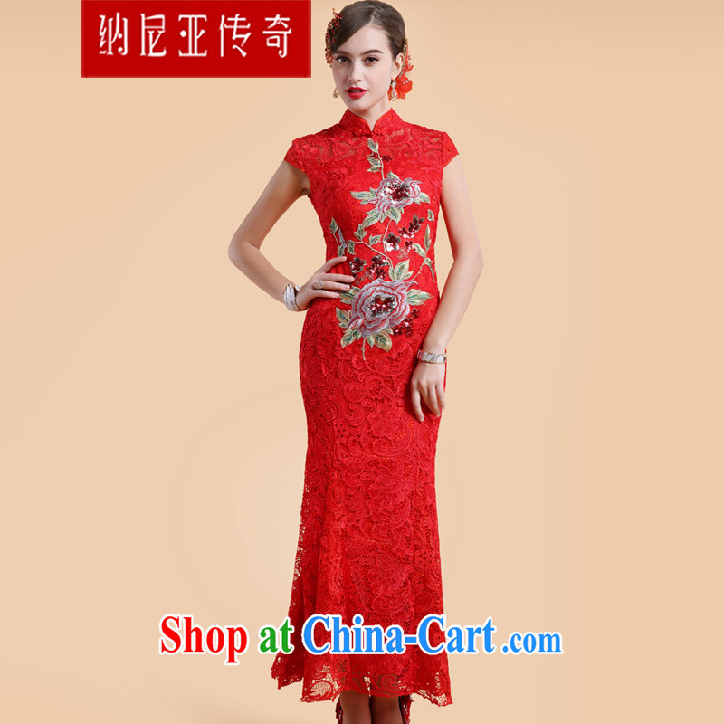 The Chronicles of Narnia cheongsam dress 2015 new wedding retro embroidery lace wedding red bows dress Red N 14 - 71,314 XL