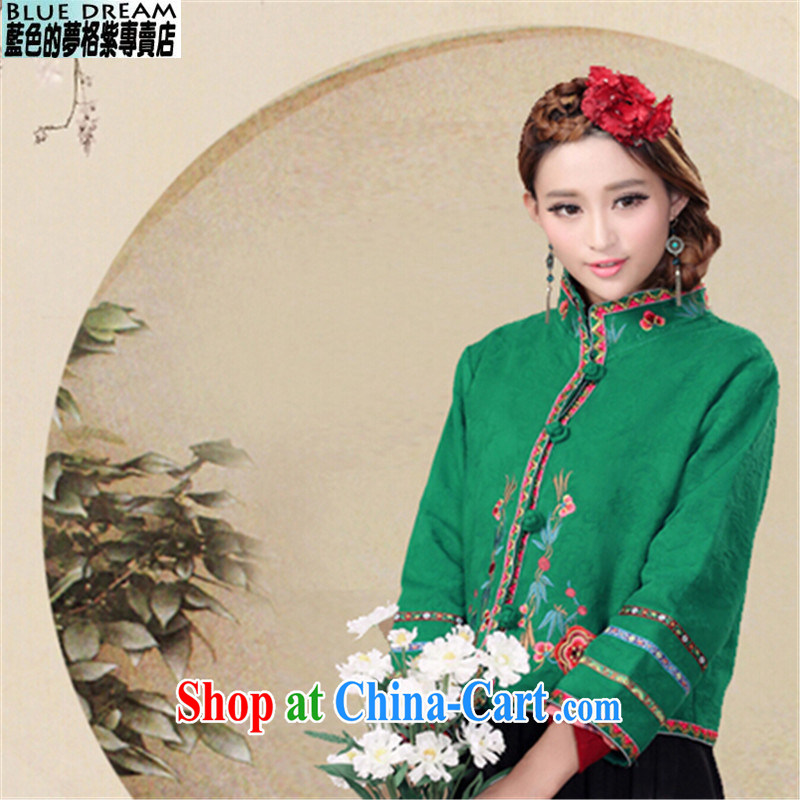 blue dream 2014 autumn and winter Tang with Chinese Ethnic Wind autumn retro style the code ladies embroidered jacket short green L