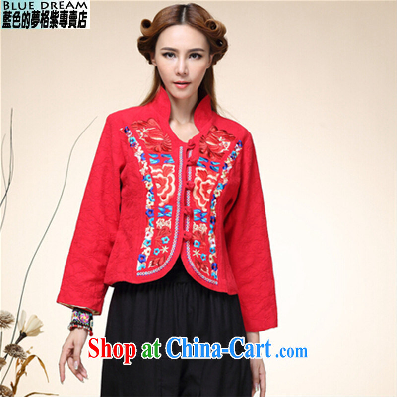 blue dream 2014 autumn and winter, new Chinese wind National wind girls with Chinese Tang with improved Han-jacket red M