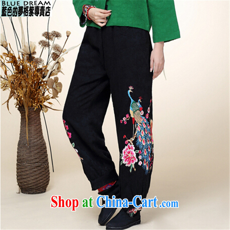 blue dream 2014 autumn and winter new Chinese Tang with improved Han-Chinese wind Peacock embroidery wide leg black pants are code