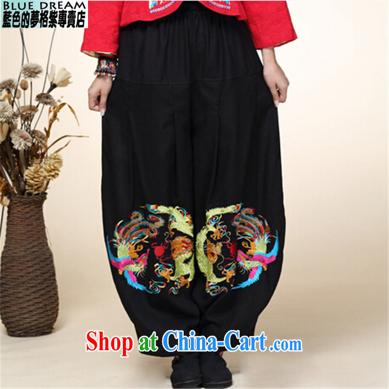 blue dream 2014 autumn and winter new Chinese improved Han-Chinese ethnic wind lantern pants girls pants high waist black are code