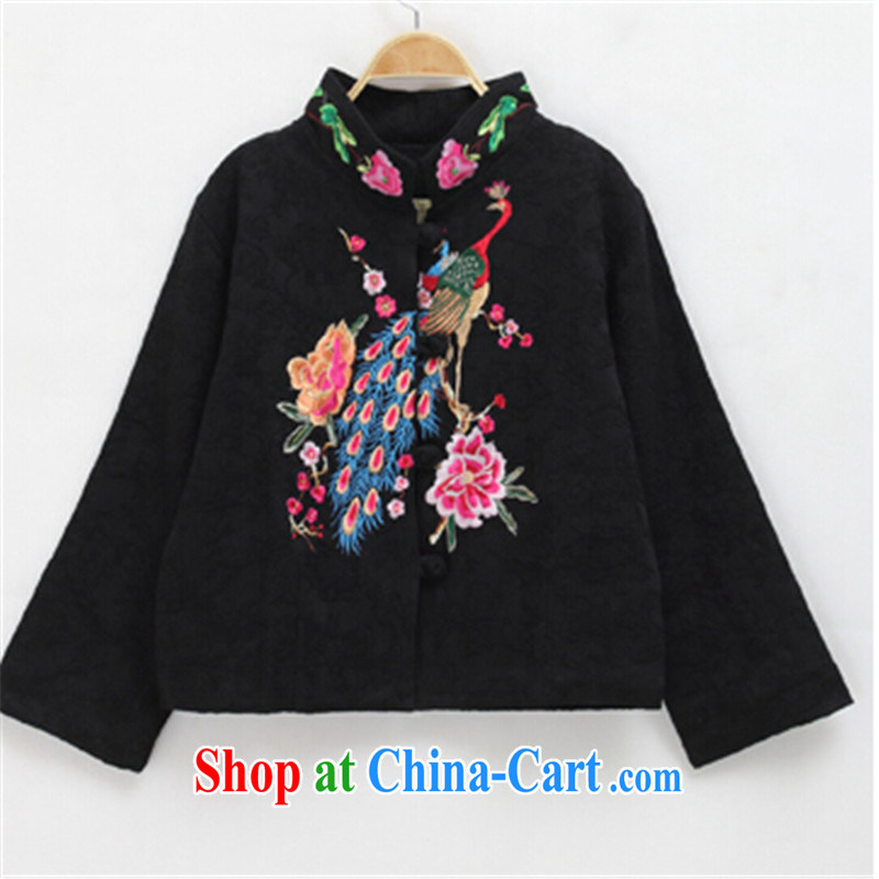 blue dream 2014 autumn and winter new Chinese Chinese Han-dresses Ethnic Wind Jacket women short Peacock embroidery black M