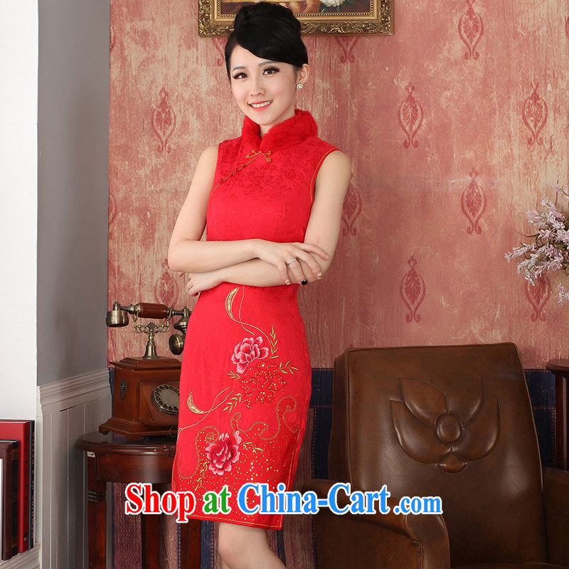 2014 autumn and winter clothing new cashmere cotton bridal red wedding dresses Chinese dress uniform toasting retro beauty red with 244,301 red XXL