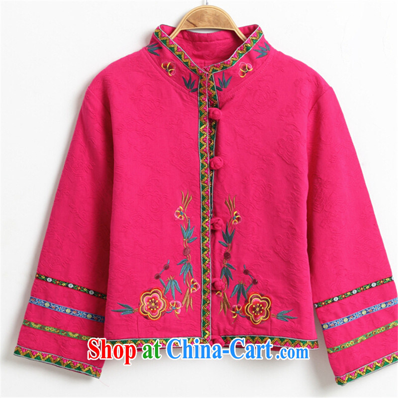 blue dream 2015 autumn and winter Tang with Chinese Ethnic Wind autumn retro style the code ladies embroidered jacket short of red M