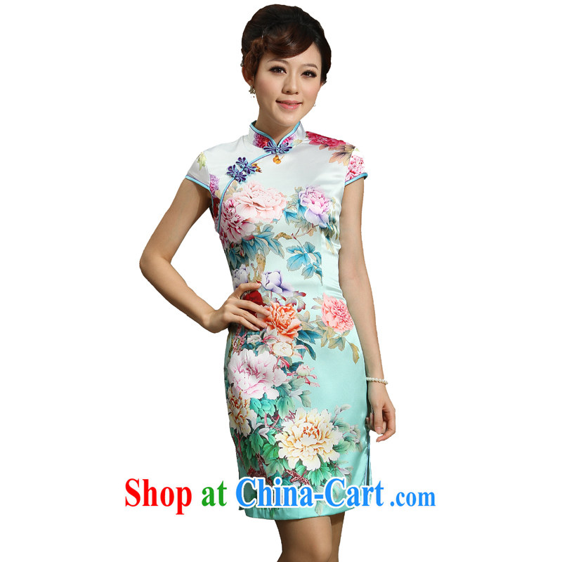 qipao heavy Silk Cheongsam improved stylish summer 2014 new counters sauna silk The Love of green XXL