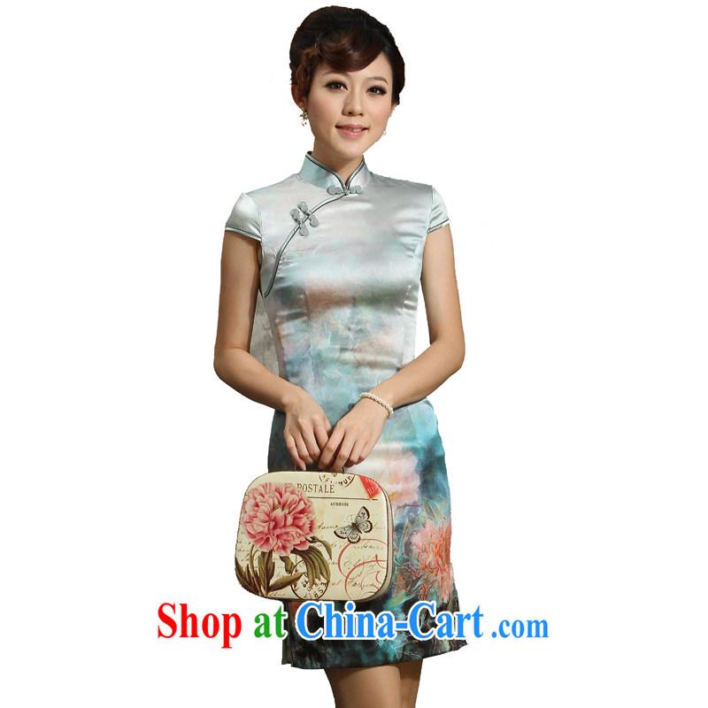 Dos Santos cheongsam Silk Cheongsam summer improved stylish 2014 new Chinese Lotus Silk Cheongsam Looking Back Light Gray XXL