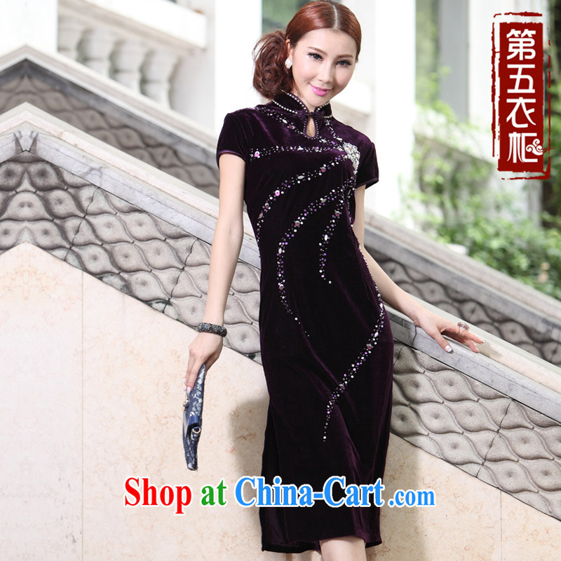 stylish and plush robes new retro long large code MOM autumn dresses wedding dress mother banquet with purple XXXL