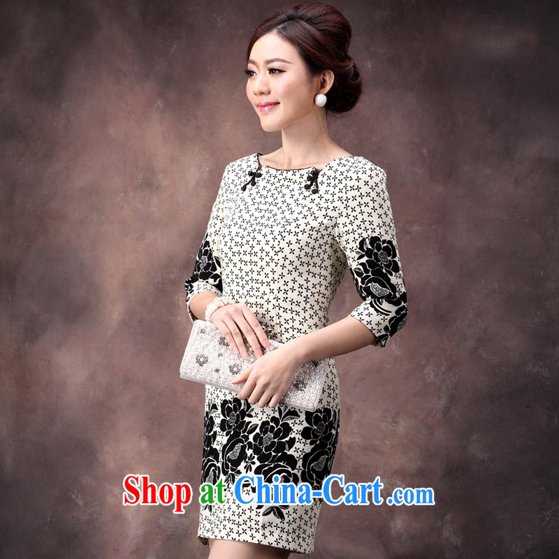 qipao autumn 2014 new cuff in black and white with stamp duty Ethnic Wind improved fashion waist skirt apricot XXL