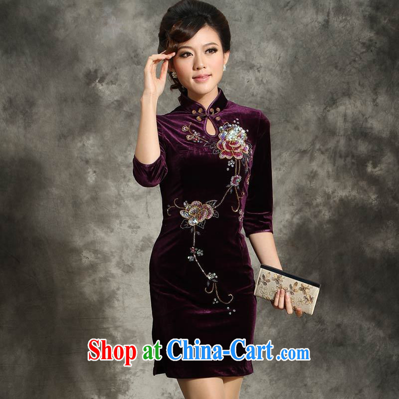 Stylish velour cheongsam dress autumn and winter short paragraph 7 in a long-sleeved wedding larger middle-aged mother with dress purple _the cuff does not contain PHI 4 XL _purple cuff in pre-sale 4 days_