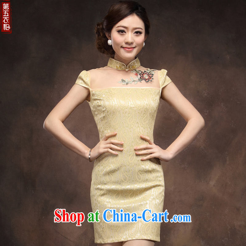 cheongsam dress summer stylish and improved 2014 new female Chinese Antique short beauty sexy lace qipao pale gold XXXL _spot beauty package_