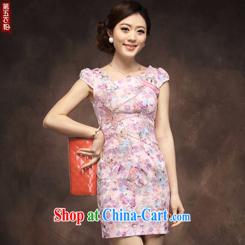 cheongsam dress summer stylish improved sense of cultivating short dresses Chinese daily short-sleeved dress, purple robe XXL