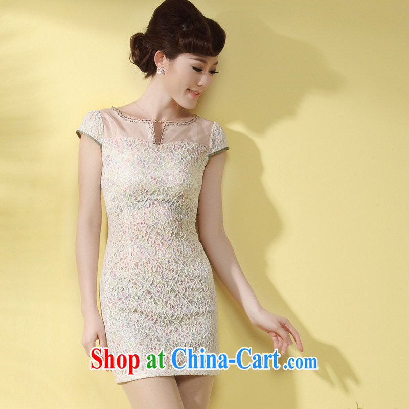 LACE cheongsam dress 2014 new summer sense of Tang decorated in elegance, short-day qipao white purple XXL