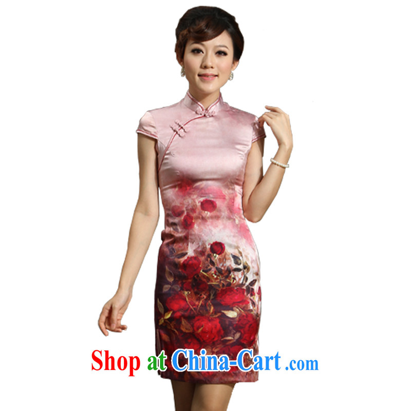 qipao cheongsam silk summer fashion 2014 new genuine pink sauna Silk Cheongsam dress, cluster pink L