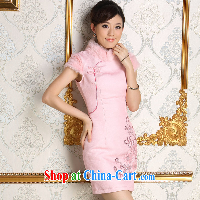 cheongsam dress 2014 new Winter Fashion pink bridal wedding bridesmaid with daily folder cotton wool for improved dress pink this outfit not included jacket