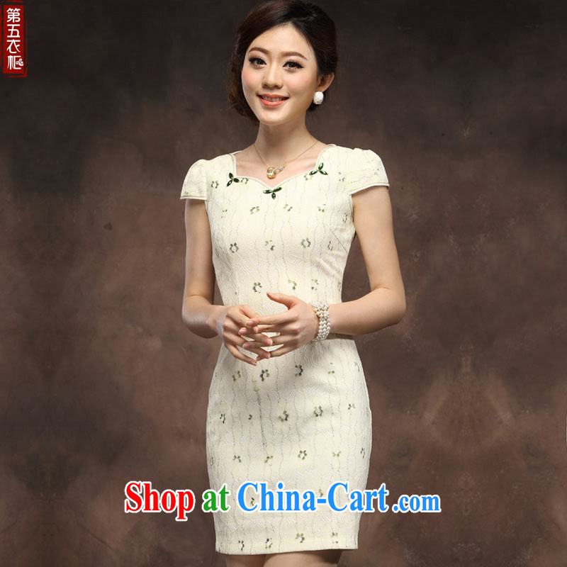 cheongsam dress 2014 new summer girls short improved stylish lace Chinese qipao day beige XXXL