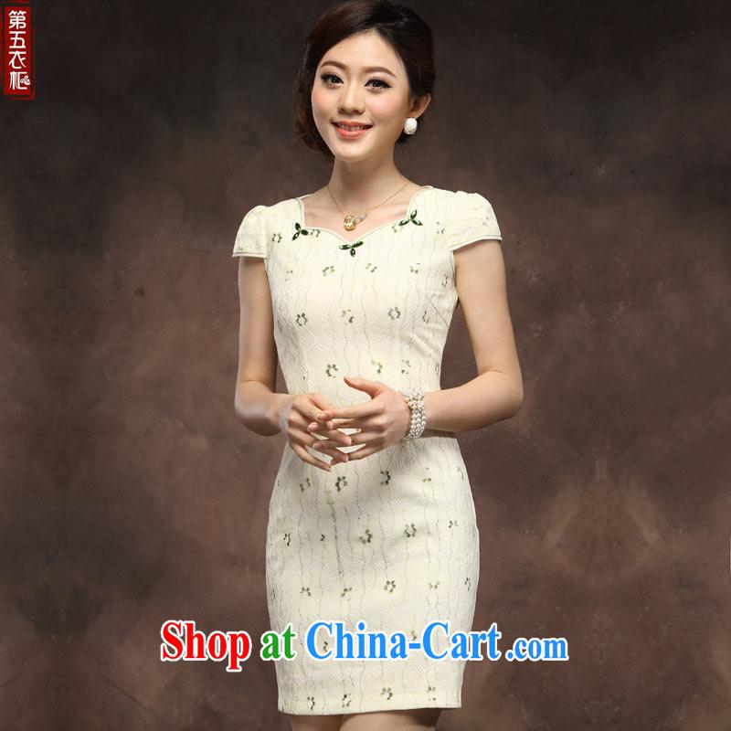 cheongsam dress 2014 new summer girls short improved stylish lace Chinese qipao day beige XXXL